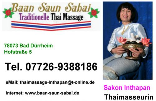 Villingen thaimassage Suchanya's Thaimassage
